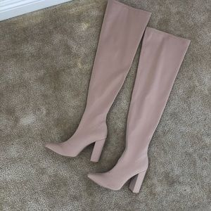Nude Faux Suede Over the Knee Boots